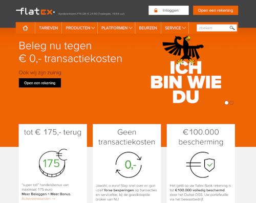 Website van Flatex, duitse broker zonder transactiekosten